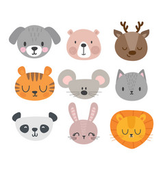 Set of cute hand drawn smiling animals cat deer vector