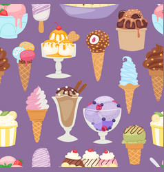Set of different ice cream seamless pattern vector