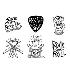 set of rock and roll music symbols with drums vector image