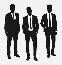 set of three men in suits vector image