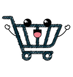 Shopping cart kawaii character vector