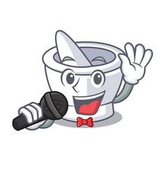 Singing mortar mascot cartoon style vector