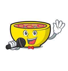 Singing soup union mascot cartoon vector