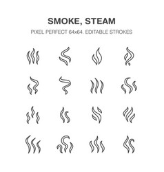 smoke steam flat line icons fumes shapes aroma vector image