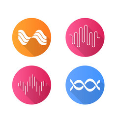 sound waves flat design long shadow glyph icons vector image