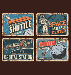 space station shuttle and satellite tin plates vector image