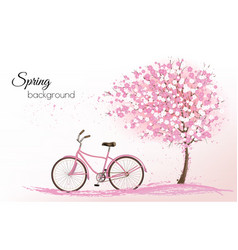 Spring background with a blossoming tree and a vector image