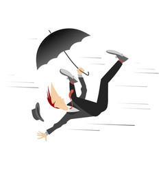 strong wind and man with hat and umbrella vector image