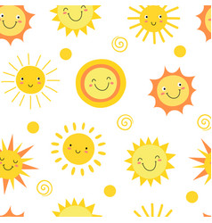 Sun seamless pattern summer hot weather sunshine vector