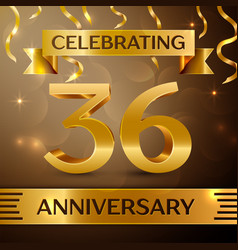 Thirty six years anniversary celebration design vector