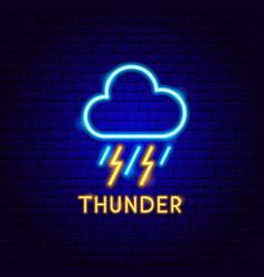 Thunder neon label vector
