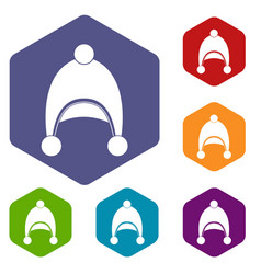 Warm hat icons set hexagon vector