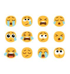 yellow crying emoji faces vector image