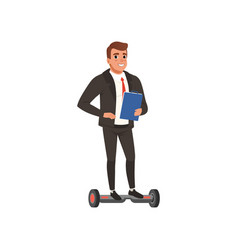 young self-confident business man standing on vector image