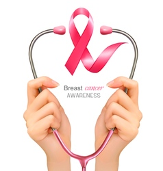 Breast cancer awareness Hands holding a vector image