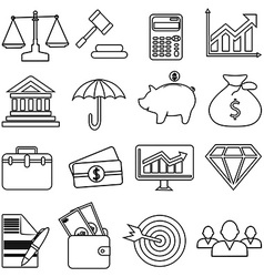 Business finance line icons set vector image vector image
