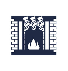 christmas fireplace isolated icon vector image