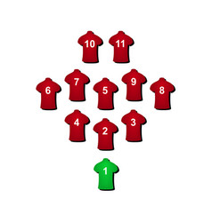 football formation in red design vector image