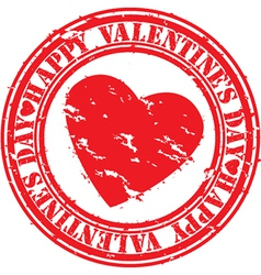 Happy valentines day stamp vector image
