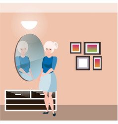 pretty girl with mirror vector image vector image