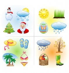 seasons icons vector image vector image