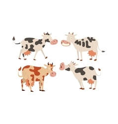 Cartoon cow characters vector image