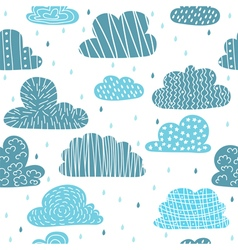 Cute hand drawn seamless pattern with clouds Funny vector image vector image