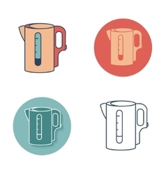 Electric kettle monochrome symbol Tea icons set vector image