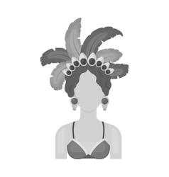 Samba dancer icon in monochrome style isolated on vector
