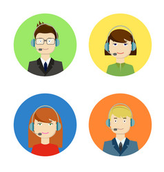 Set of call center girls and boys operators vector