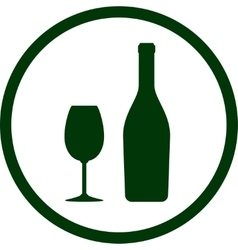 white wine bottle and glass in round frame vector image