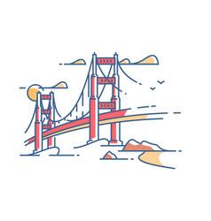 golden gate bridge vector image vector image