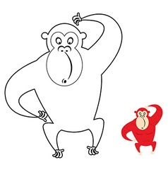 Monkey coloring book Red monkey makes surprise vector image