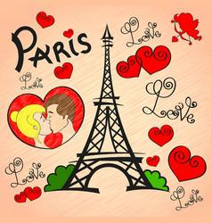 paris love romance vector image vector image