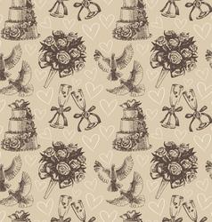 Seamless wedding pattern vector image vector image