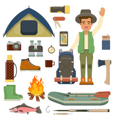 traveler man with backpack and set of camping vector image vector image