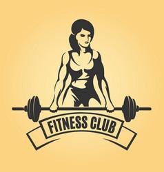 bodybuilder sport emblem in retro style vector image vector image
