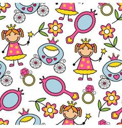 Cartoon seamless pattern with princess and her bel vector image vector image