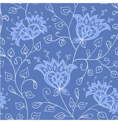 Floral blue seamless pattern vector image vector image