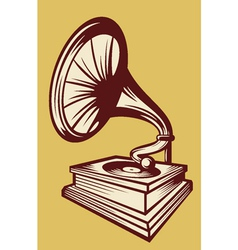 gramophone with horn speaker vector image vector image