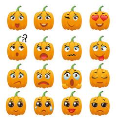 halloween pumpkin character emoji vector image vector image
