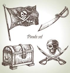 Pirates set hand drawn vector image