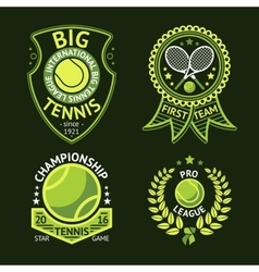 Set of old style Tennis Labels with ball and vector image vector image