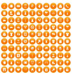 100 clothing icons set orange vector image