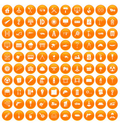 100 construction site icons set orange vector