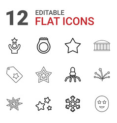 12 star icons vector image