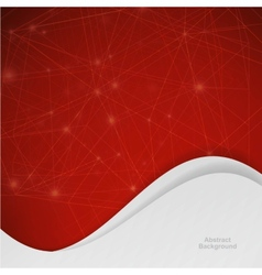 3D red Abstract Mesh Background with Circles vector image
