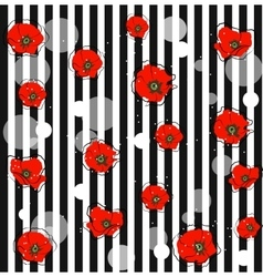 abstract red poppy flowers vector image