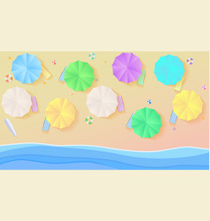 Aerial view on summer filled beach in paper craft vector