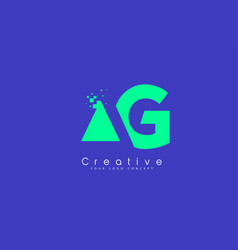 ag letter logo design with negative space concept vector image